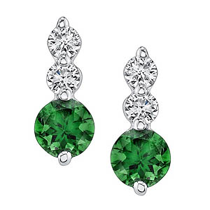 White Gold Green Tourmaline Earrings