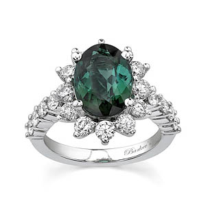 White Gold Green Tourmaline Ring
