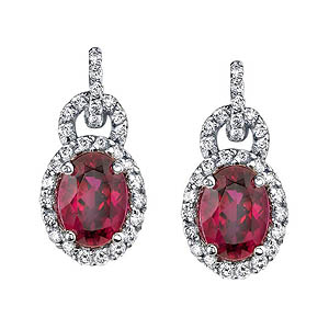 White gold diamond and rubellite earrings