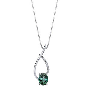White Gold Green Tourmaline Pendant
