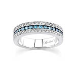 White Gold Band With White and Blue Diamonds