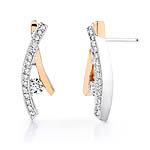 Two tone white and rose gold diamond earrings