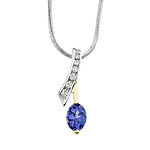 Two tone diamond and tanzanite pendant