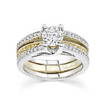 Two tone engagement set with white and yellow diamonds