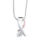 Two tone white and rose gold diamond pendant