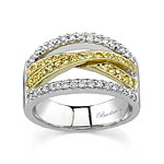 Two Tone Band With White and Yellow Diamonds
