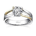 White and yellow gold solitaire ring