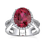 White gold diamond and rubellite ring