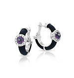 Diana Black/Amethyst Earrings