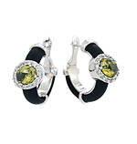 Diana Black Olive/ White Earrings