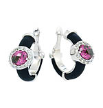 Diana Black Pink/White Earrings