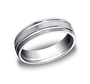 This incredible Platinum 6mm comfort-fit carved design band features a satin-finished with two high polished parallel grooves along the center.