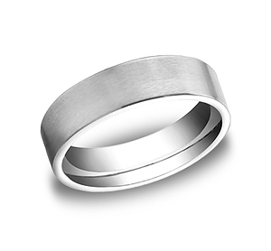 This Platinum 6mm comfort-fit satin-finished carved design band offers a classic look, but with a modern flat profile.