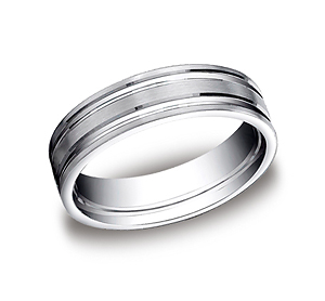 This incredible Palladium 6mm comfort-fit satin-finished carved design band features two high polished parallel center grooves for a continuous flow of style.