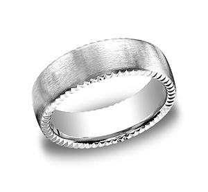 This unique 7.5mm comfort-fit satin-finished carved design band features an elegant rivet coin edging for unforgettable style.