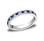 This gorgeous 3mm channel set eternity diamond band features 18 round ideal-cut diamonds and blue sapphire...