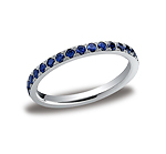 This gorgeous 2mm pave set eternity diamond ring features 33 beautiful round ideal-cut blue sapphire stone...