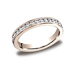 This elegant 3mm channel set eternity band features 36 round ideal-cut diamonds along the center with milg...