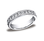 This elegant 4mm channel set eternity band features 28 round ideal-cut diamonds along the center with milg...