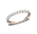 This elegant 2.5mm shared prong diamond band features 28 round ideal cut diamonds. Total approximate car...