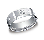 This sleek Palladium 8mm comfort-fit burnish set diamond eternity band features a satin-finished center wit...