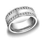 This elegant 8mm comfort-fit channel set brushed diamond eternity band features double rows of 66 round id...