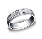 This incredible Platinum 6mm comfort-fit carved design band features a satin-finished with two high polishe...