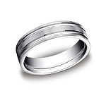 This incredible Platinum 6mm comfort-fit satin-finished carved design band features two high polished paral...