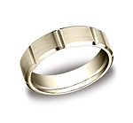 This 6mm comfort-fit satin-finished carved design band features strong vertical grooves along the center f...