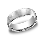 This unique 7.5mm comfort-fit satin-finished carved design band features an elegant rivet coin edging for ...