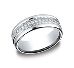 This beautiful 7.5mm comfort-fit diamond band features a roped-design surrounding gorgeous round ideal-cu...