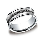 This unique 7.5mm comfort-fit concave pave set diamond band features 16 black round ideal-cut diamonds and...