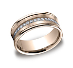 This stylish 7.5mm comfort-fit concave pave set channel diamond band features a satin-finished center with...