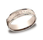 This 6mm comfort-fit carved design band features a hammered-finished center with a milgrain pattern along t...