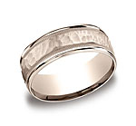 This 8mm comfort-fit carved design band features a hammered-finished center with a milgrain pattern along t...
