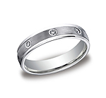 This remarkable Platinum 4mm comfort-fit bezel set eternity band features a satin-finished and 8 round idea...