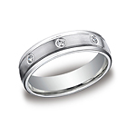 This remarkable Platinum 6mm comfort-fit bezel set eternity band features a satin-finished and 8 round idea...