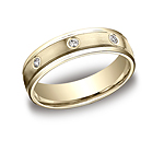 This remarkable 6mm comfort-fit bezel set eternity band features a satin-finished and 8 round ideal-cut dia...