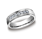 This beautiful Platinum 6mm comfort-fit channel set diamond band features a high polished round edge that ...