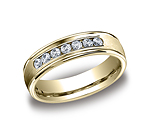 This beautiful 6mm comfort-fit channel set diamond band features a high polished round edge that surrounds...
