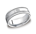 This elegant Platinum 8mm comfort-fit bezel set eternity band features a satin-finished center with six rou...