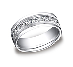 This beautiful Palladium 8mm comfort-fit channel set eternity diamond band features a strong high polished ...