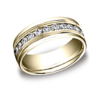 This beautiful 8mm comfort-fit channel set eternity diamond band features a strong high polished round edge...