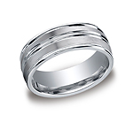 This incredible Palladium 8mm comfort-fit satin-finished carved design band features a high polished round ...