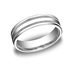 This Platinum 6mm comfort-fit carved design band features a high polished finish with milgrain and a round...