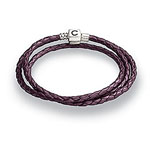 Plum Braided Leather Wrap Bracelet