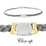 GB PD925 18K OXIDIZED MESH WHITE SAPPHIRE NECKLACE 18""