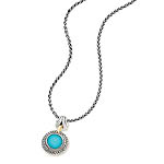 GB PD925 18K TURQUOISE DOUBLETand WHITE SAPPHIRE NECKLACE