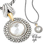 GB PD925 18K MOP DOUBLET W/ WHITE SAPPHIRE NECKLACE 18""