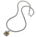 GB PD925 18K CITRINE and WHITE SAPPHIRE NECKLACE 18""